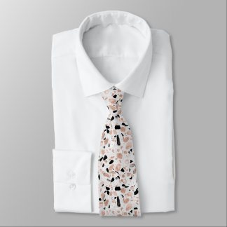 Classy rose gold vintage marble abstract terrazzo neck tie