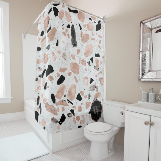Classy Rose Gold Vintage Marble Abstract Terrazzo Shower Curtain