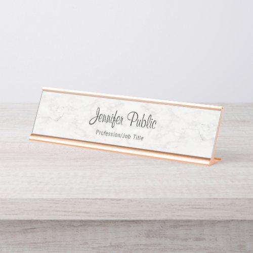 Classy Rose Gold White Marble Modern Elegant Desk Name Plate