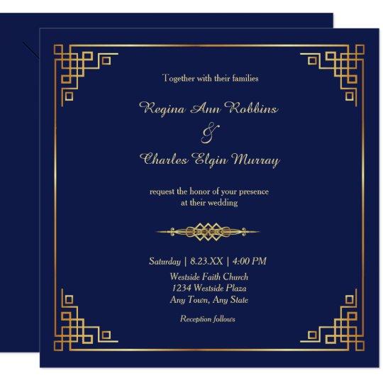 Classy Royal Blue Gold Frame Wedding Invitation | Zazzle.com