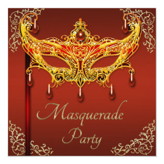 Classy Ruby Mask Masquerade Party Card