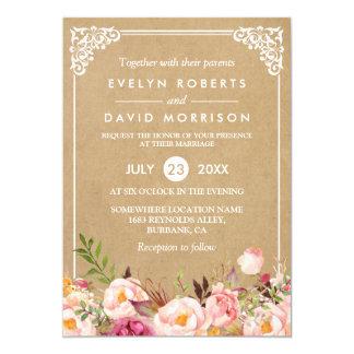 Classy Rustic Floral Frame Kraft | Formal Wedding Card