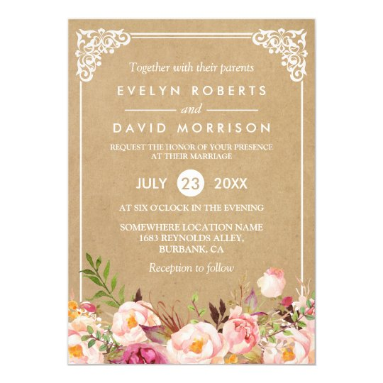 Classy rustic floral frame kraft formal wedding invitation classy rustic floral frame kraft formal wedding invitation stopboris Gallery