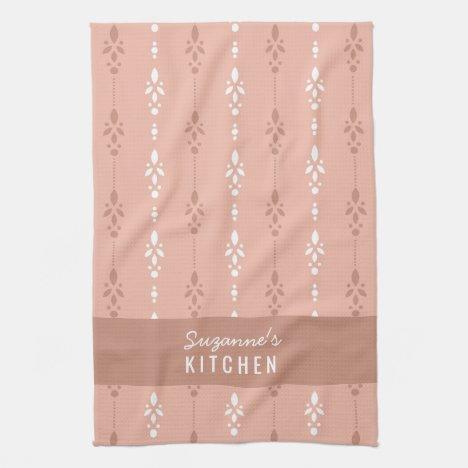 Classy salmon pink dainty kitchen towel