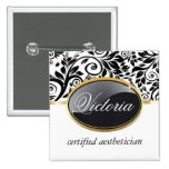 Classy Salon Name Tag Pinback Buttons