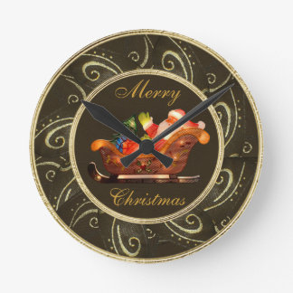 Classy Santa in Sleigh with Lights Clock
