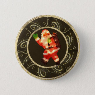 Classy Santa with Lights Brown & Gold Button