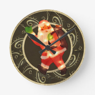 Classy Santa with Lights Brown & Gold Clock