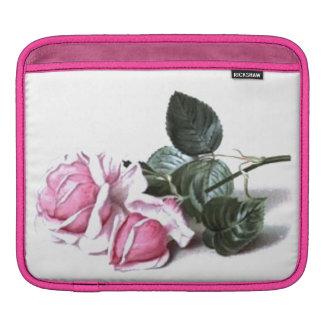 Classy Sassy Retro Sissy Vintage Floral Pink Roses iPad Sleeve