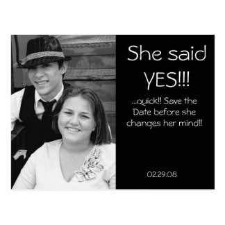 Classy save the date postcard