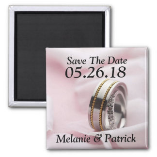 Classy Save The Date Wedding Rings Bands Photo 2 Inch Square Magnet