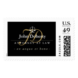 Classy Scales of Justice | Gold Initials Postage Stamp