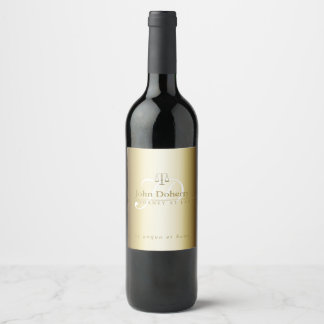 Classy Scales of Justice | Gold Initials Wine Label