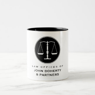 Classy Scales of Justice | Law Office Two-Tone Coffee Mug
