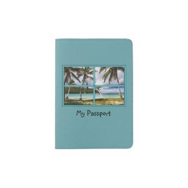 Beach Themed Classy Scenic Caribbean Beach View Passport Holder