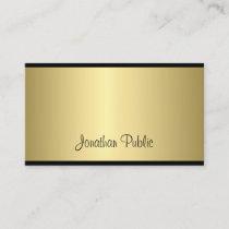 Classy Script Modern Sleek Glamorous Gold Look Business Card