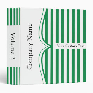 Classy Shamrock Green Stripes 3 Ring Binder