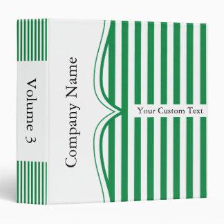 Classy Shamrock Green Stripes 3 Ring Binder