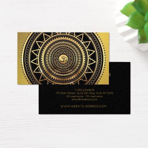 Classy Shiny Black & Gold OM Symbol Mandala Business Card