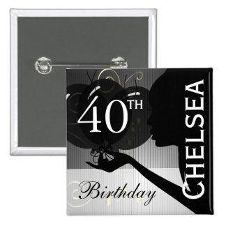 Classy Silhouette Birthday Girl 2 Inch Square Button