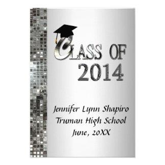 Classy Silver 2014 Graduation Invitations
