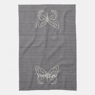 Classy Silver Grey Butterfly Textured Hand Towel