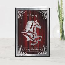 Classy Silver Horse Silhouette Holiday Card