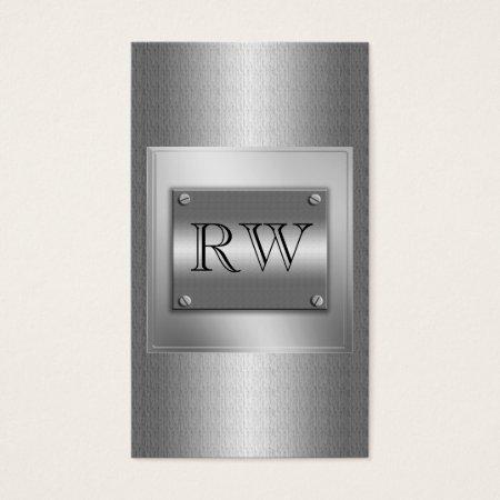 Elegant Sleek Silver Sheet Metal Construction Business Cards Template