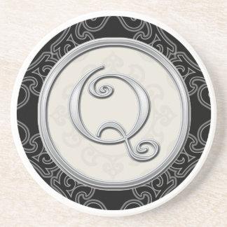 Classy Silver Monogram Initial Sandstone Coaster