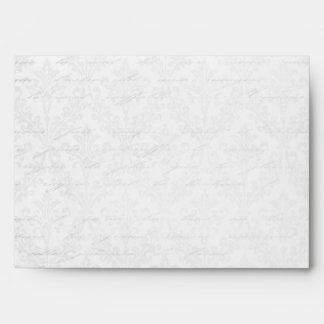Classy Silver: Script & Damask Linen A-7 Envelope