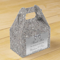 Classy Silver Sequins Bow Diamond Favor Box