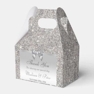 Classy Silver Sequins Bow Diamond Favor Box
