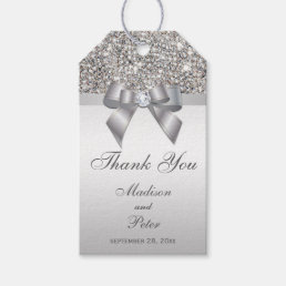 Classy Silver Sequins Bow Thank You Gift Tags