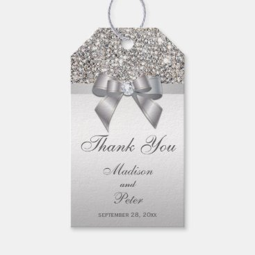 Toddler & Baby themed Classy Silver Sequins Bow Thank You Gift Tags