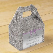 Classy Silver Sequins Lilac Bow Diamond Favor Box