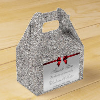 Classy Silver Sequins Red Diamond Bow Favor Box