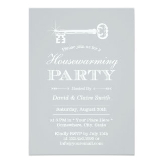 Classy Silver Skeleton Key Housewarming Party 5x7 Paper Invitation Card
