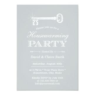 Classy Silver Skeleton Key Housewarming Party Card