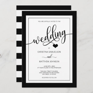 Classy Simple Black & White Heart Wedding Invitation