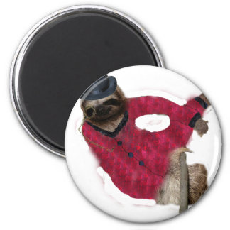 classy sloth 2 inch round magnet
