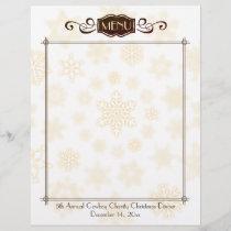 Classy snowflake Christmas holiday menu letterhead