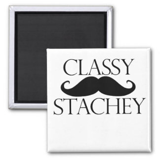 Classy Stache Mustache 2 Inch Square Magnet