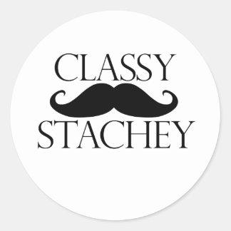 Classy Stache Mustache Classic Round Sticker