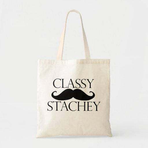 Classy Stache Mustache Tote Bags