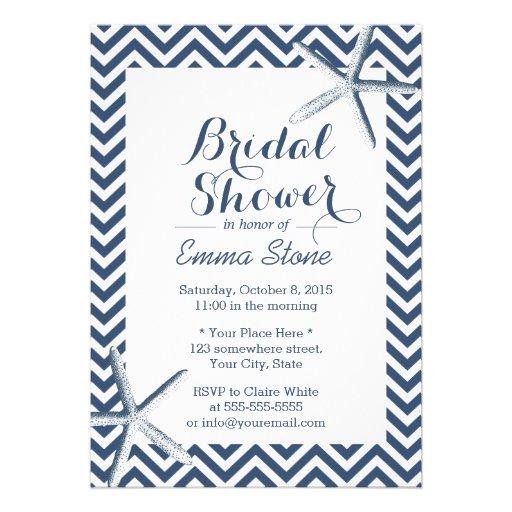 Classy Starfish Chevron Stripes Bridal Shower Personalized Announcement