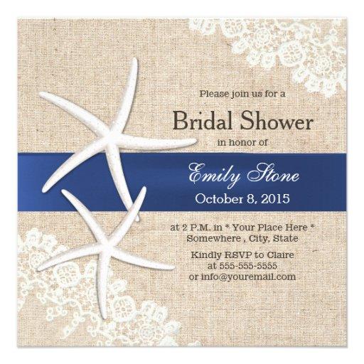 Classy Starfish Lace & Burlap Bridal Shower Invite