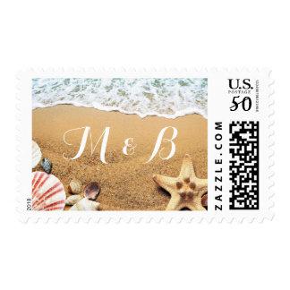 Classy Starfish Seashell Sand Beach Wedding Postage
