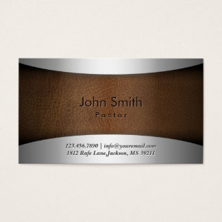 Classy Steel & Leather Pastor Business Card