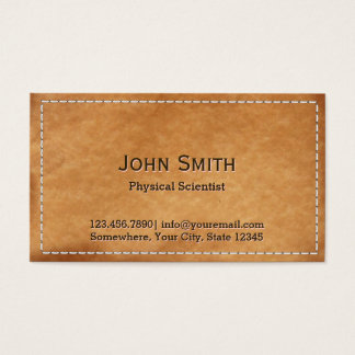 Classy Stitched Leather Physical Scientist Business Card
