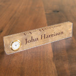 Classy Stone Background with Clock Name Plate